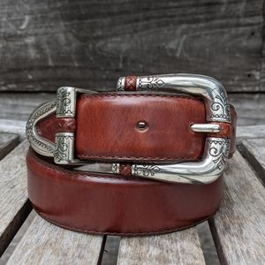 Brighton Brown Leather Silver Etched Belt Small 28